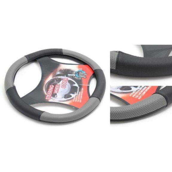 Чехол руля кожа H-8520-L (black/grey) (2)