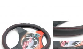 Чехол руля кожа-PU H-8500-M (black+red нить) (A)