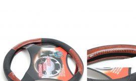 Чехол руля кожа H-8512-M (black/wood) (A)