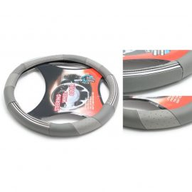 Чехол руля кожа H-8514-M (grey+chrome) (A)