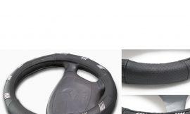 Чехол руля кожа H-8515-M (black+crome) (А)