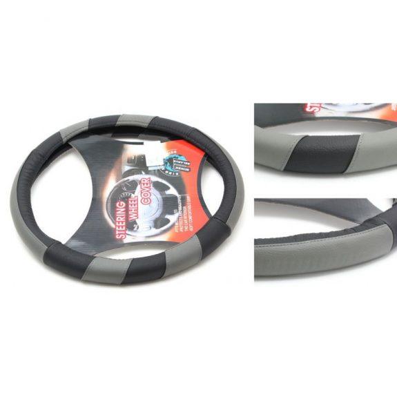 Чехол руля кожа H-8518-M (black/grey) (2)