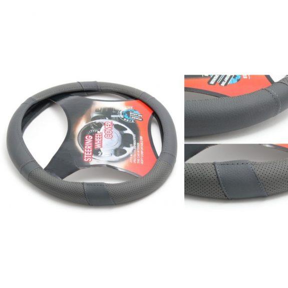 Чехол руля кожа H-8522-M (dark grey) (A)