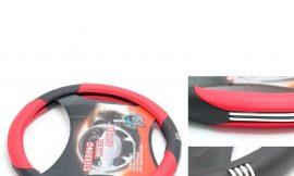 Чехол руля кожа-PU H-8534-M (black/red/chrome) (A)