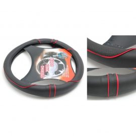 Чехол руля кожа-PU H-8495-M (black/red) (A)